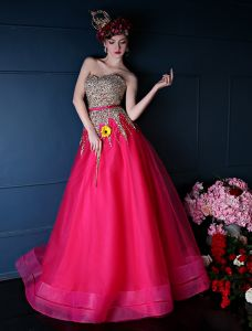 2015 Bling Sweetheart Sequins Sash Tulle Prom Dress