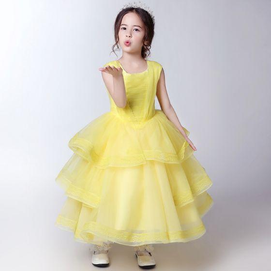 730546374 Hermoso Pasillo Vestidos para bodas 2017 Vestidos para niñas Amarillo  Largos Ball Gown Scoop Escote Sin ...
