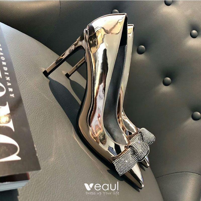 Modern / Fashion Silver Evening Party Pumps 2019 Rhinestone Bow 10 cm Stiletto Heels Pointed Toe Pumps