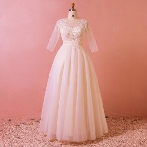 Chic / Beautiful White Floor-Length / Long Wedding 2018 A-Line / Princess Tulle U-Neck Appliques Backless Beading Sequins Wedding Dresses