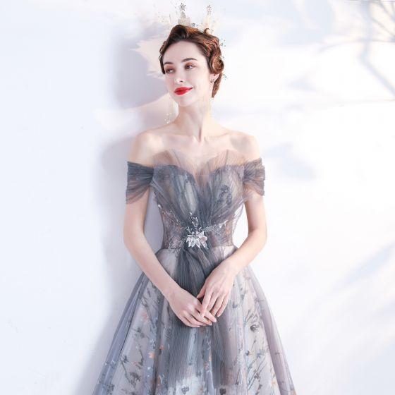 Vintage / Retro Grey Prom Dresses 2021 A-Line / Princess Off-The-Shoulder Beading Crystal Sequins Sleeveless Backless Floor-Length / Long Prom Formal Dresses