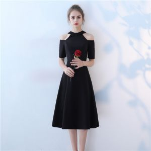 Chic / Beautiful Black Homecoming Evening Dresses  2017 A-Line / Princess Scoop Neck Strapless Short Sleeve Knee-Length Formal Dresses