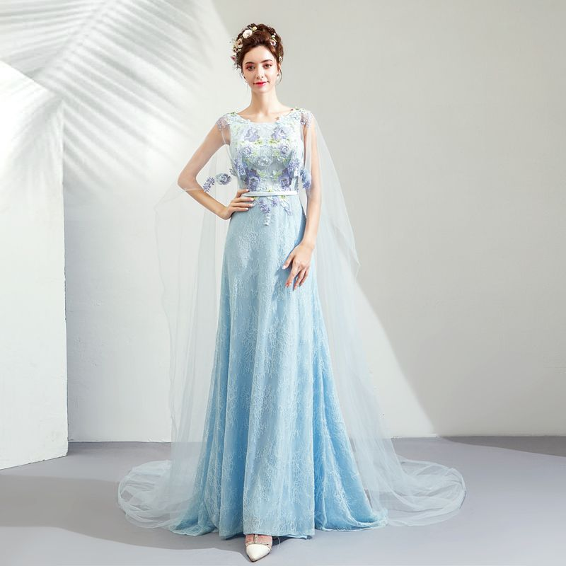 Elegant Pool Blue Evening Dresses  2019 Sheath / Fit Scoop Neck Sleeveless Appliques Lace Rhinestone Sash Watteau Train Ruffle Backless Formal Dresses