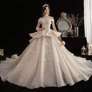 Vintage / Retro Champagne See-through Wedding Dresses 2020 Ball Gown High Neck 3/4 Sleeve Appliques Flower Beading Glitter Tulle Cathedral Train Ruffle