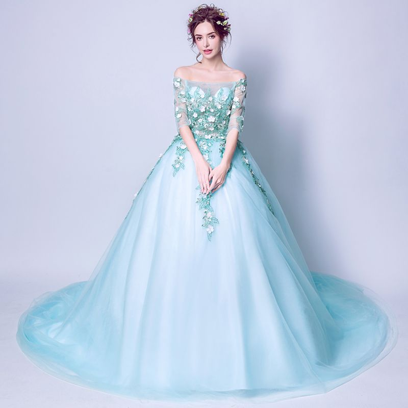 Affordable Pool Blue Prom Dresses 2019 A-Line / Princess Off-The-Shoulder Appliques Embroidered 1/2 Sleeves Backless Formal Dresses