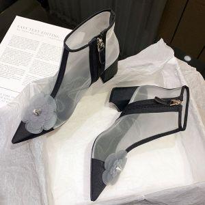 Schöne Schwarz Strassenmode Durchsichtige Stiefel Damen 2020 Applikationen 6 cm Thick Heels Spitzschuh Stiefel