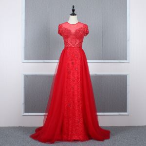 High-end Red See-through Evening Dresses  2020 A-Line / Princess Scoop Neck Short Sleeve Beading Sweep Train Ruffle Formal Dresses