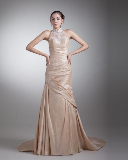 Taffeta Ruffle Beads High Neck Court Train Mothers of Bride Guests Dresses