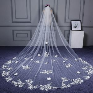 Flower Fairy White Cathedral Train Wedding Veils Tulle Lace Appliques Wedding 2018