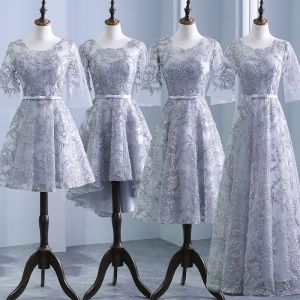 Chic / Beautiful Silver Pierced Bridesmaid Dresses 2018 A-Line / Princess Scoop Neck 3/4 Sleeve Appliques Lace Bow Sash Ruffle Backless Wedding Party Dresses