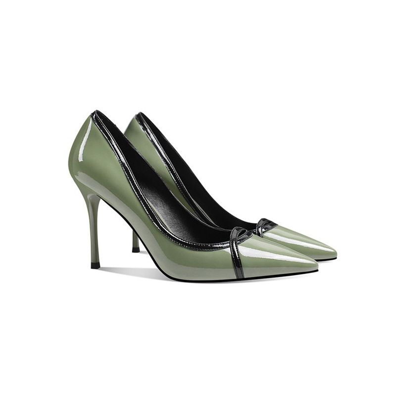 Chic / Beautiful Sage Green OL Pumps 2019 Leather 9 cm Stiletto Heels Pointed Toe Pumps