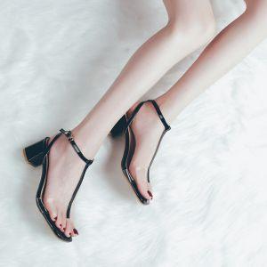 Transparent Noire Été Désinvolte Sandales Femme 2018 Bride Cheville T-Strap 5 cm Talons Épais Peep Toes / Bout Ouvert Sandales
