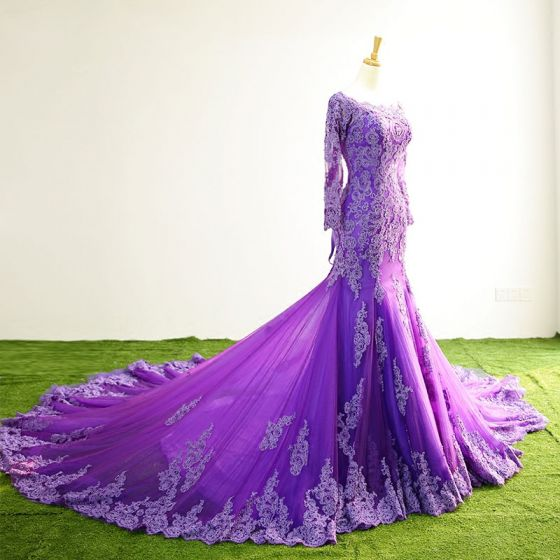 Chic / Beautiful Purple Evening Dresses  2017 Square Neckline Long Sleeve Appliques Lace Trumpet / Mermaid Formal Dresses