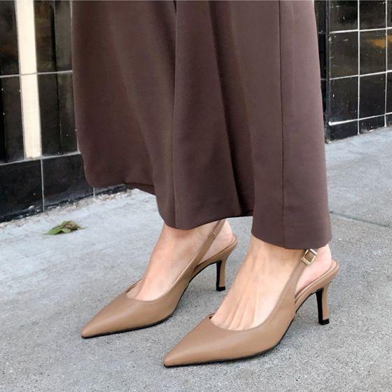 Schlicht Nude Freizeit Slingpumps Sandalen Damen 2020 8 cm Stilettos Spitzschuh Sandaletten