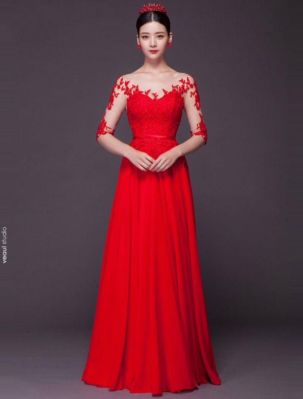 Sexy Robe De Soirée Longue 2016 En Dentelle Paillettes Appliques En Mousseline Rouge Robe De Ceremonie Dos Nu