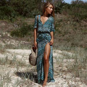 Bohemia Verano Azul Tinta Casual Vestidos largos 2018 Botón Cubierto Delante De Split V-Cuello 1/2 Ærmer Largos Ropa de mujer