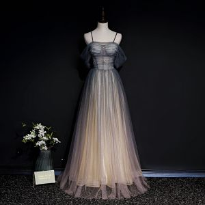 Illusion Grey Gradient-Color Blushing Pink See-through Evening Dresses  2020 A-Line / Princess Spaghetti Straps Short Sleeve Sequins Beading Glitter Tulle Floor-Length / Long Ruffle Backless Formal Dresses