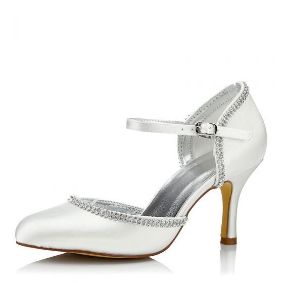 Chic / Beautiful Ivory Rhinestone Wedding Shoes 2021 8 cm Stiletto Heels Pointed Toe Wedding High Heels