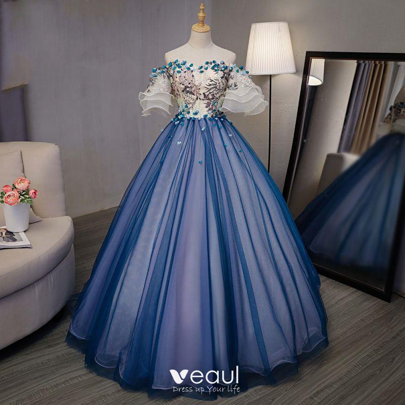 Piękne Królewski Niebieski Taniec Sukienki Na Bal 2020 Suknia Balowa Przy Ramieniu Rękawy z dzwoneczkami Aplikacje Z Koronki Haftowane Kwiat