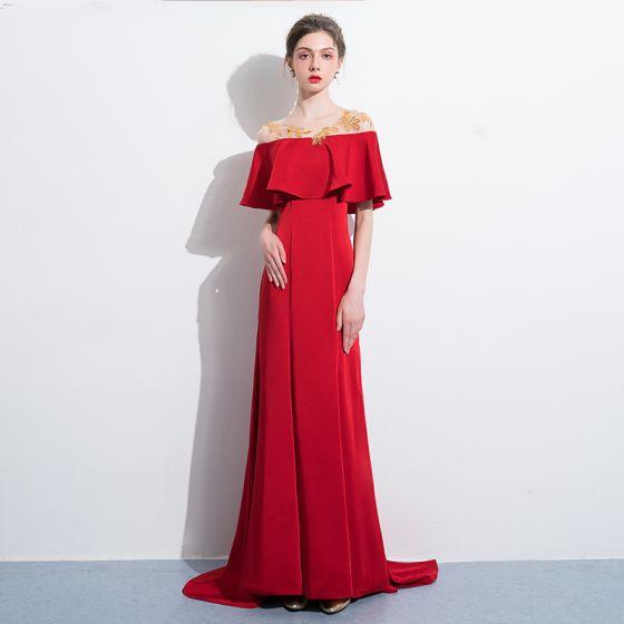 eb01dcef1 Hermoso Rojo Vestidos de noche 2018 Trumpet   Mermaid Lentejuelas Scoop  Escote Manga Corta Sin Espalda Colas De Barrido Vestidos Formales