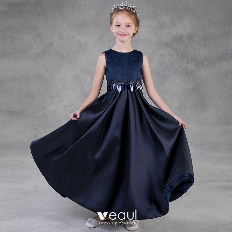 71279373a Sencillos Marino Oscuro Vestidos para niñas 2018 A-Line   Princess Scoop  Escote Sin Mangas Lentejuelas Largos Ruffle Vestidos para bodas