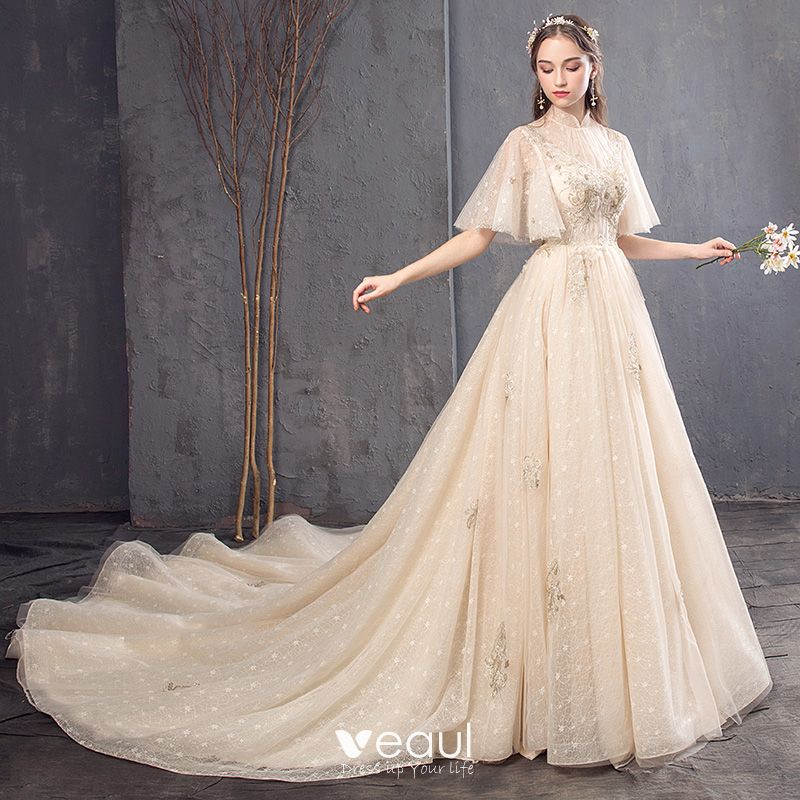 Vintage / Retro Champagne Wedding Dresses 2019 A-Line