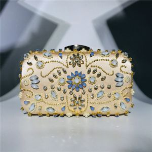 Chic / Beautiful Gold Square Clutch Bags 2020 Metal Beading Rhinestone