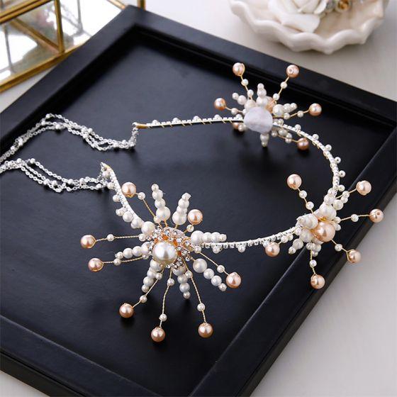 Chic / Beautiful Silver Bridal Hair Accessories 2020 Metal Pearl Tassel Headpieces Wedding Accessories