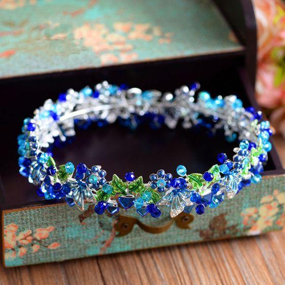 b00f14e8 Najpiękniejsze / Ekskluzywne Królewski Niebieski Biżuteria Ślubna 2017  Metal Frezowanie Kryształ Rhinestone Ozdoby Do Włosów Ślub Bal Akcesoria