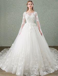 Prinzessin Hochzeitskleider 2017 Einzigartige Hülsen Entwerfen Appliquespitze Brautkleider Mit 1 M-zug