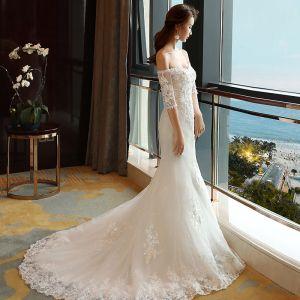 Erschwinglich Brautkleider 2017 Weiß Mermaid Kapelle-Schleppe Off Shoulder 1/2 Ärmel Rückenfreies Mit Spitze Applikationen Perle Pailletten