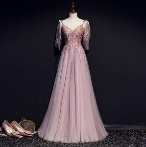 Charmant Rougissant Rose Robe De Soirée 2019 Princesse Bretelles Spaghetti Noeud Perlage En Dentelle Fleur Sans Manches Dos Nu Longue Robe De Ceremonie
