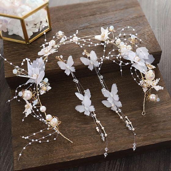 Hada de las flores Oro Aro de pelo Tocados de novia 2020 Aleación mariposa Flor de seda Rebordear Perla Pendientes Tocados Joyas