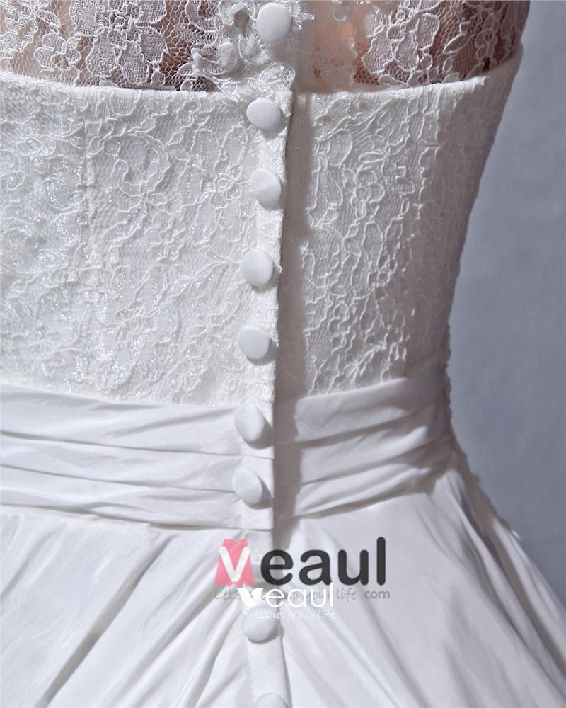 Satin Lace Ruffle Beaded Scoop Chapel A-line Bridal Gown Wedding Dress