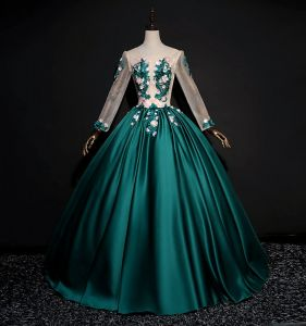 Elegant Dark Green Prom Dresses 2018 Ball Gown Lace Flower Appliques Pearl Rhinestone Scoop Neck Backless Long Sleeve Floor-Length / Long Formal Dresses
