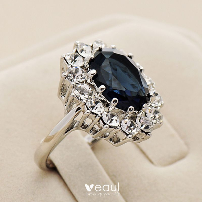 Luxury / Gorgeous Navy Blue Rhinestone Handmade  Lucky Ring Metal Evening Party Rings 2019 Accessories