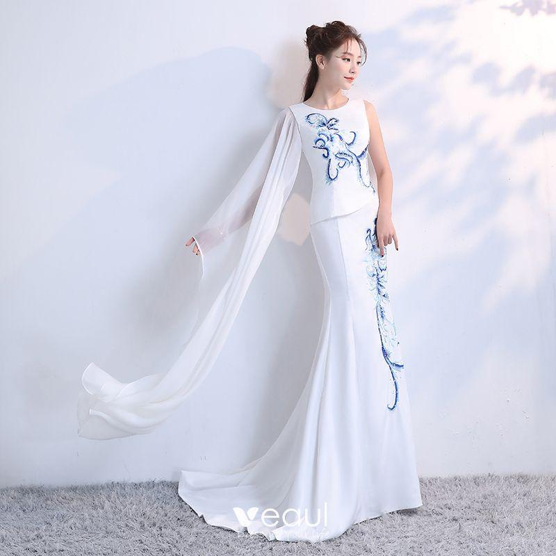 cb13b76b4d1f3 Luxury / Gorgeous Chinese style White Court Train Evening Dresses ...