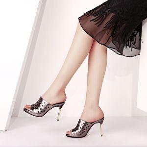 Chic / Beautiful Brown Womens Sandals 2017 Outdoor / Garden Leather High Heel Open / Peep Toe Sandals
