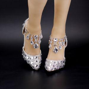 Chic / Beautiful White 2018 9 cm Wedding High Heels Beading Crystal Rhinestone Prom Pointed Toe Stiletto Heels Wedding Shoes