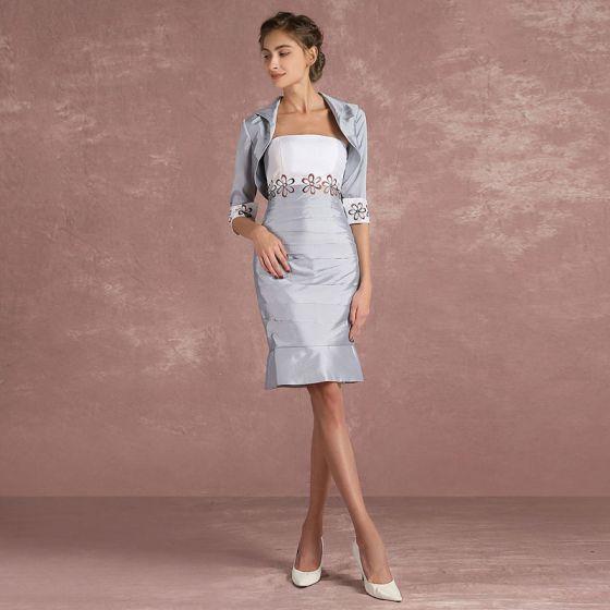 Mooie / Prachtige Zilveren 2 Stuk Moeder Van De Bruid Kleding 2018 Strapless 1/2 Mouwen Knielengte Jurken Voor Bruiloft