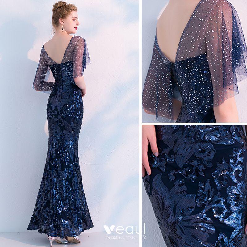 Sparkly Navy Blue Evening Dresses 2019 Trumpet / Mermaid