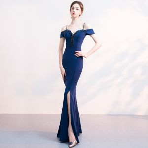 Charming Navy Blue Evening Dresses  2019 Trumpet / Mermaid Spaghetti Straps Beading Crystal Tassel Backless Floor-Length / Long Formal Dresses
