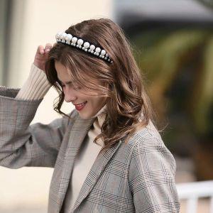 Chic / Beautiful Black Pearl Hair Hoop 2020 Suede Headpieces Accessories