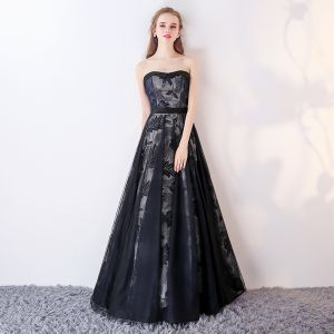 Chic / Beautiful Navy Blue Prom Dresses 2017 A-Line / Princess Sweetheart Sleeveless Sash Floor-Length / Long Ruffle Backless Formal Dresses