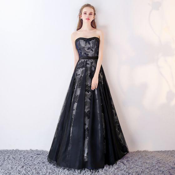 Chic / Beautiful Navy Blue Prom Dresses 2017 A-Line / Princess Sweetheart Sleeveless Sash Floor-Length / Long Ruffle Backless Formal Dresses