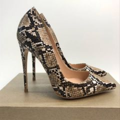 Chic / Beautiful Brown Evening Party Pumps 2019 Snakeskin Print 12 cm Stiletto Heels Pointed Toe Pumps