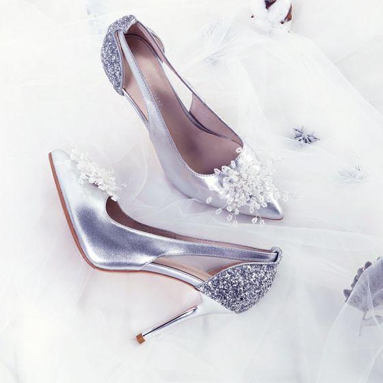 Mooie / Prachtige Zilveren Bruidsschoenen 2018 Leer Pailletten Handgemaakt Kralen 9 cm Naaldhakken / Stiletto Spitse Neus Huwelijk Hoge Hakken