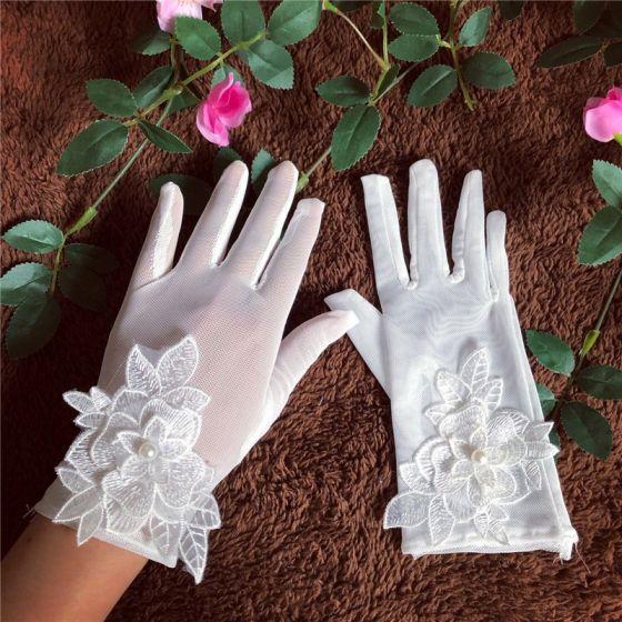 Piękne Białe Rękawiczki Ślubne 2020 Aplikacje Kwiat Perła Koronkowe Tiulowe ślubna Bal Ślub Akcesoria