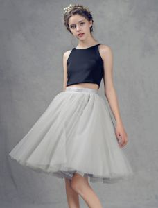 All-purpose Style Grey Tulle Short Skirt Dress