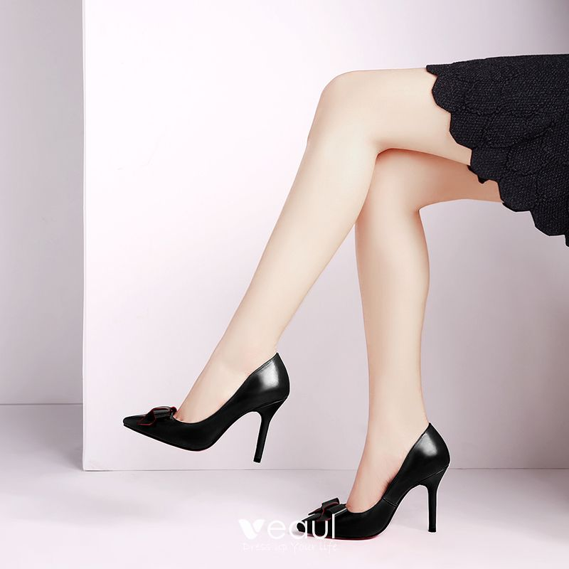 Chic / Beautiful Office Pumps 2017 Outdoor / Garden Leather Bow High Heel Pointed Toe Pumps Black Same As First Picture